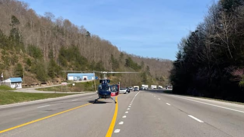 You can see in this picture a helicopter landed on the road following a crash on U.S. 23.