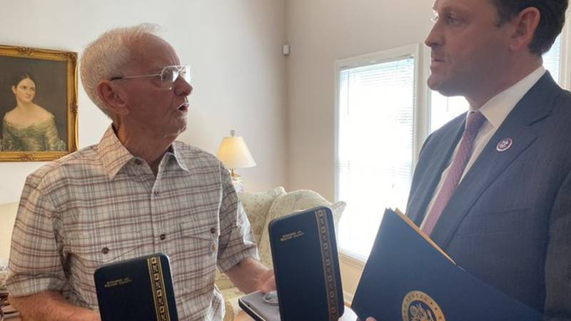 Congressman Andy Barr presented a posthumous Bronze Star and Purple Heart for Gordon Lee Hardy...
