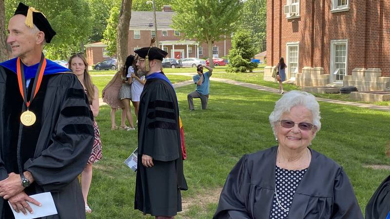 Just one month shy of turning 85, Ann Bolton Bevins smiles shortly after receiving her diploma...