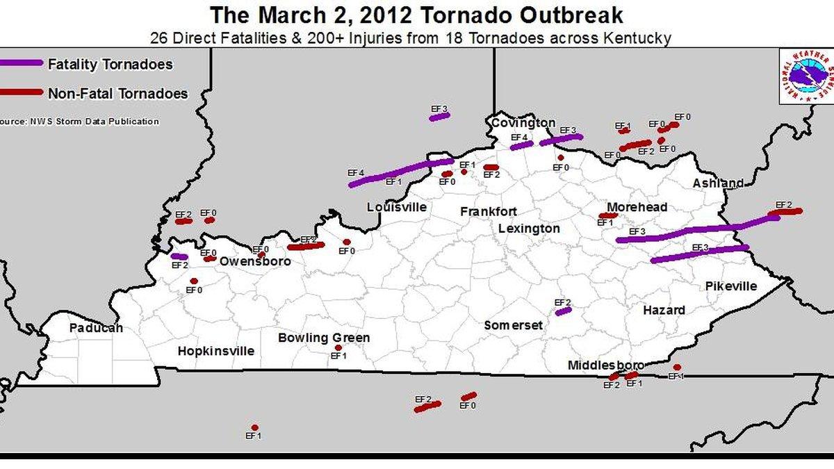 Tornado Tracks - March 2, 2012