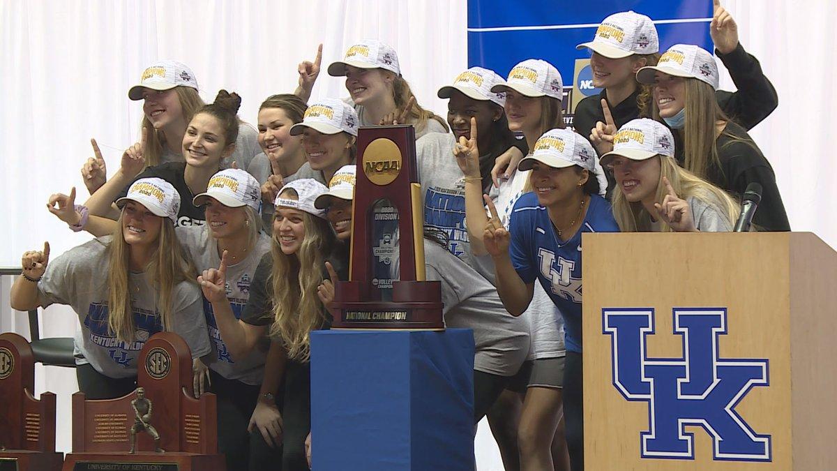 Kentucky volleyball returns to Lexington as national champs.