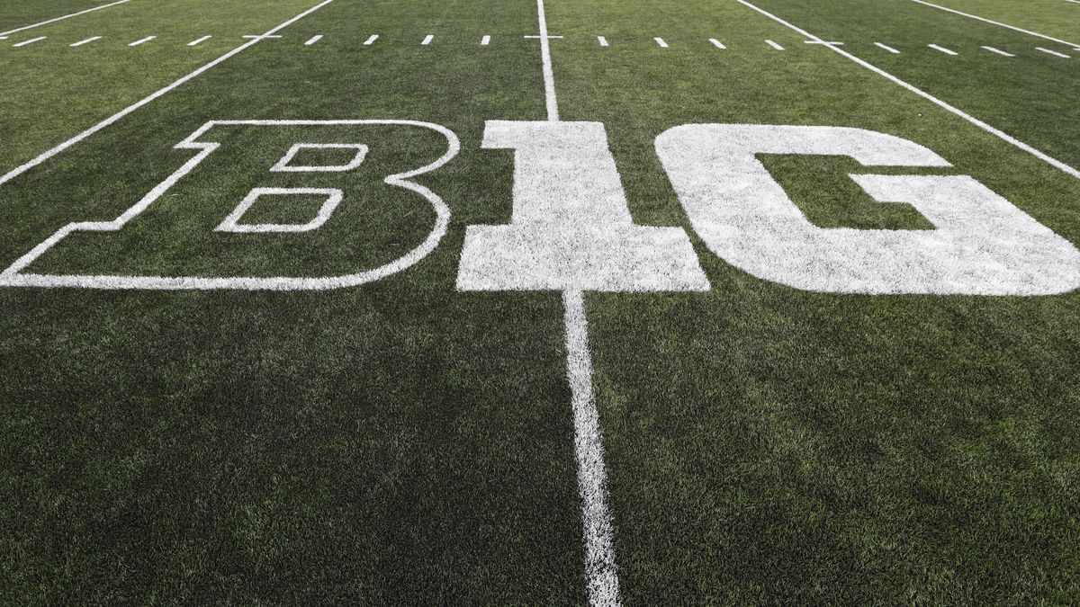 In this Aug. 31, 2019, file photo, the Big Ten logo is displayed on the field before an NCAA college football game between Iowa and Miami of Ohio in Iowa City, Iowa. Big Ten presidents voted 11-3 to postpone the football season until spring, bringing some clarity to a key question raised in a lawsuit brought by a group of Nebraska football players. The vote breakdown was revealed Monday, Aug. 31, 2020, in the Big Ten's court filing in response to the lawsuit.